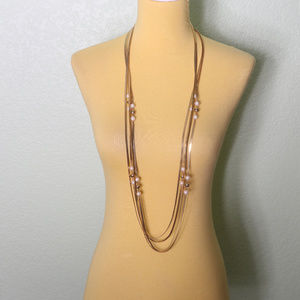 Layered Gold Chain Pearl Necklace Lariat Length